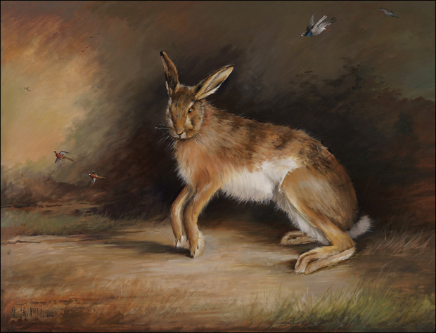 Brown Hare in Evening Landscape