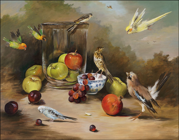 Small Birds discovering Fruit in a Large Glass Bowl