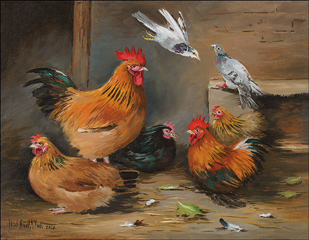 A Pair of Buff Sussex Poultry, Pekin Bantams and Pigeon in a Barn