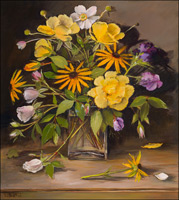 Yellow and White Roses, Japanese Anemones, Rudbeckia and Aconitum in a Glass Vase
