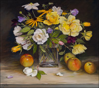 Yellow and White Roses, Sweet Peas, Anemones and Apples