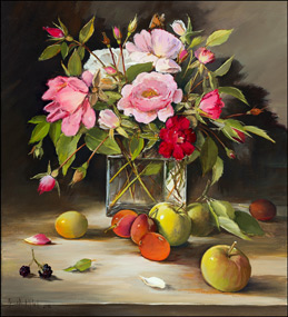 Pink and Red Roses, Apples and Plums