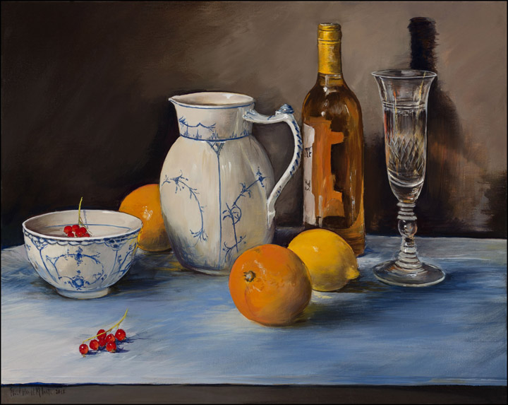 A White Jug and Bowl, a Glass, Oranges and a Lemon with Redcurrants